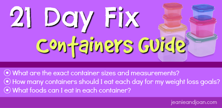 21 day fix containers sizes