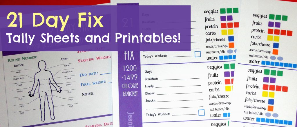 21 day fix tally sheets and calorie bracket worksheet printables