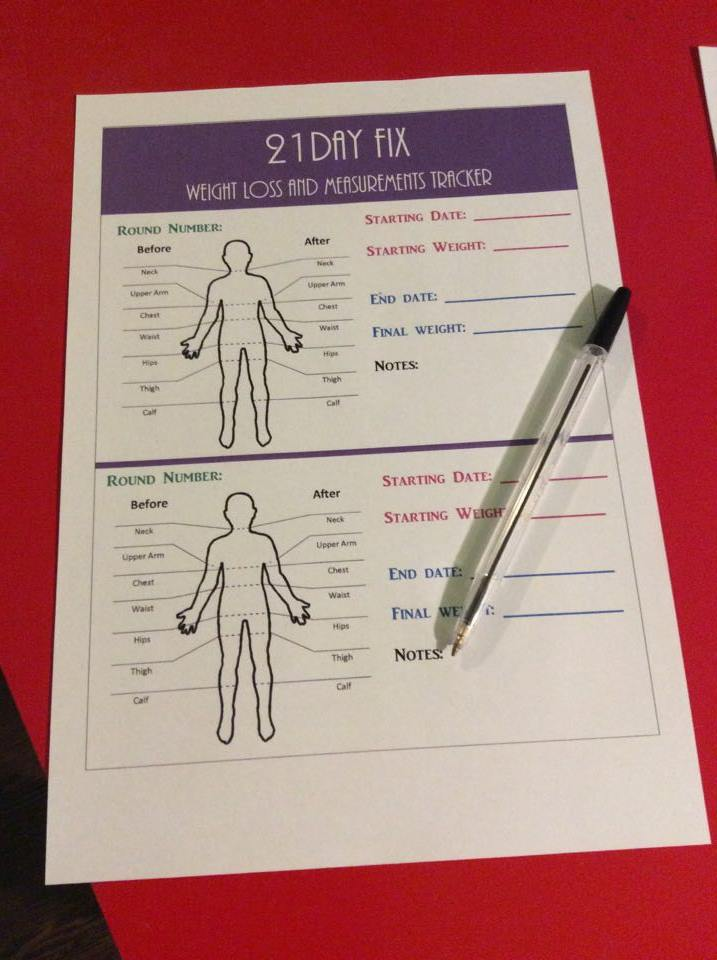 21 Day Fix Container Logging Tally Sheets and Printables