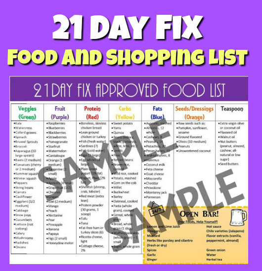 21 Day Fix Approved Food List: Popular Shopping & Grocery Items!