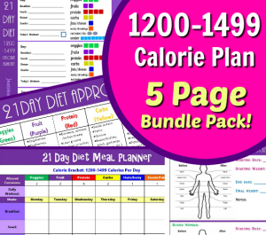 1200 - 1499 calorie bracket tally sheets