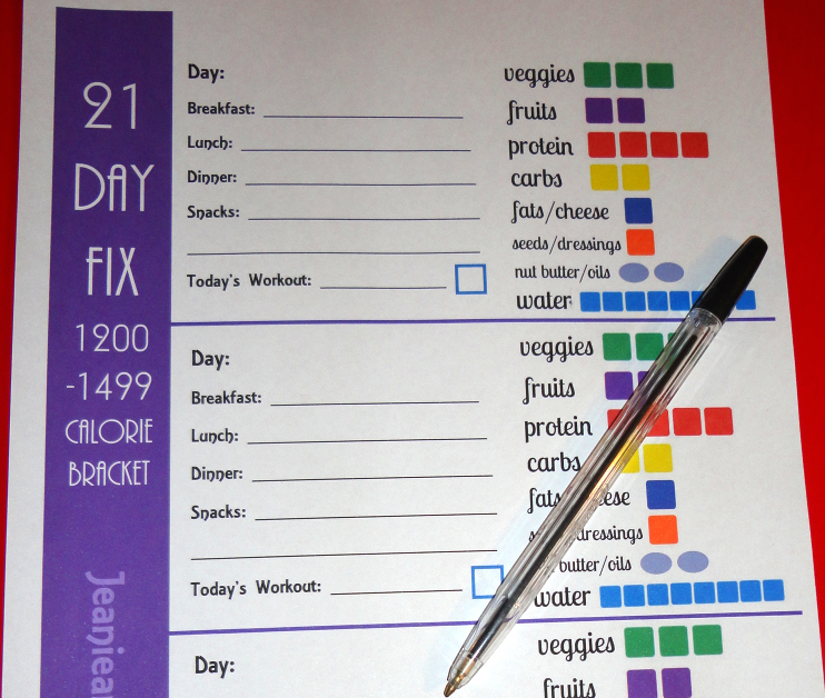 picture regarding 21 Day Fix Meal Planner Printable identified as 21 Working day Mend Container Logging Tally Sheets and Printables