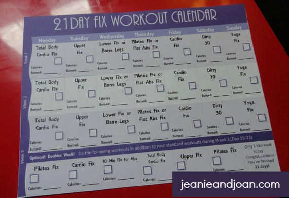 21 day fix exercise calendar