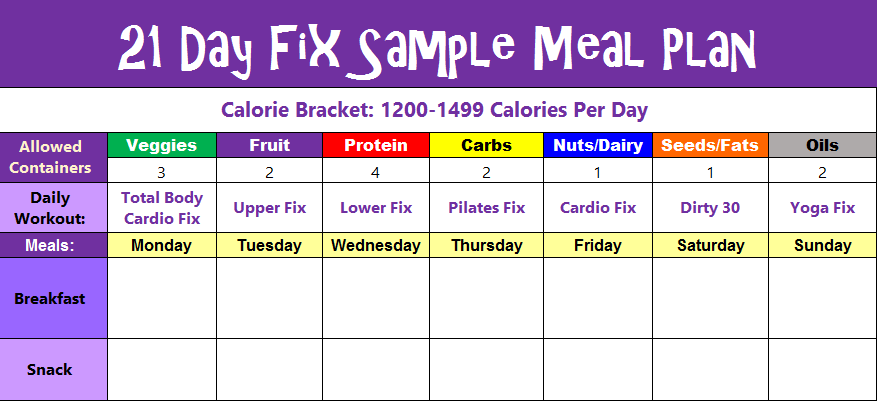21 Day Fix Meal Plan Sample Day 1200-1499 Calories